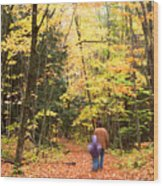 A Hike Into The Forest Wood Print