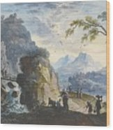 A Hilly Landscape With Figures  Wood Print