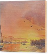 A Hingham Sunset Wood Print by Laura Lee Zanghetti
