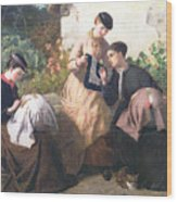 A Honiton Lace Manufactory Wood Print by Frederick Richard Pickersgill