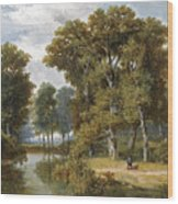 A Hunter And An Angler In A Wooded Landscape Wood Print
