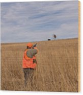 A Hunter Shoots A Ring Necked Pheasant Wood Print