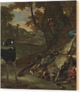 A Huntsman Cutting Up A Dead Deer, With Two Deerhounds Wood Print