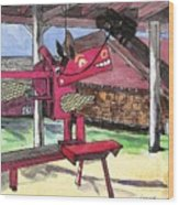 A I Farm Apple Squeeze Dragon Wood Print