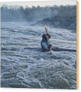 A Kayaker Takes On White Water Rapids Wood Print