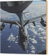 A Kc-135 Stratotanker Aircraft Refuels Wood Print