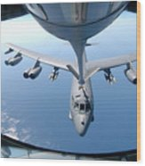 A Kc-135 Stratotanker Refuels A B-52 Wood Print by Stocktrek Images