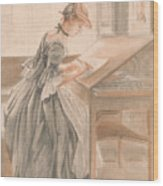 A Lady Copying At A Drawing Table Wood Print