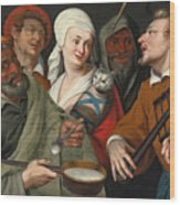 A Lady Holding A Swaddled Cat A Man With A Pan Of Porridge Another Playing With Fire Irons And Two O Wood Print
