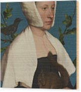 A Lady With A Squirrel And A Starling Anne Lovell Wood Print