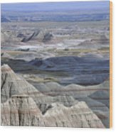 A Landscape Of The Badlands In South Wood Print