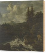 A Landscape With A Waterfall And A Castle On A Hill Wood Print