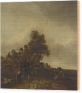 A Landscape With Peasants And A Cart Wood Print