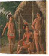 A Leeward Islands Carib Family Outside A Hut Wood Print