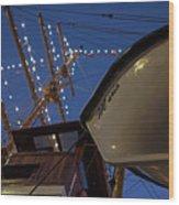 A Lifeboat Named Maria Boston Tall Ships 2017 Lighted Mast Boston Ma Wood Print
