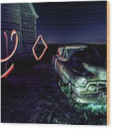 A Light Painted Scene Of A Rusty Caddy By A Barn And Cornfield Wood Print