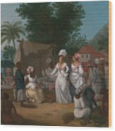 A Linen Market With A Linen-stall And Vegetable Seller In The West Indies Wood Print