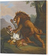 A Lion And Tiger In Combat Wood Print