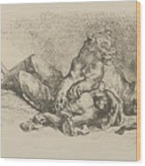 A Lioness Mauling The Chest Of An Arab Wood Print