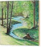 A Little Brook With A Bridge Wood Print