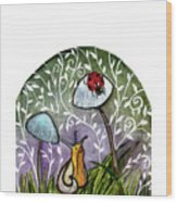 A Little Chat-ladybug And Snail Wood Print