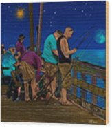 A Little Night Fishing At The Rodanthe Pier 2 Wood Print