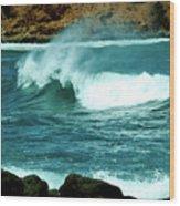 A Little Wave Action Wood Print