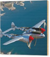 A Lockheed P-38 Lightning Fighter Wood Print