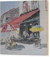 A L'ombre D'une  Terrasse D'un  Cafe  Shadow Of An Outdoor Pub Wood Print by Dominique Serusier