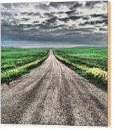 A Long Dakota Road Wood Print