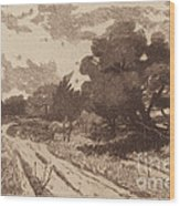 A Long Island Road Wood Print