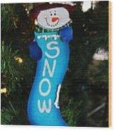 A Long Snow Ornament- Vertical Wood Print