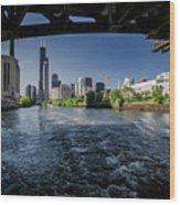 A Look At The Chicago Skyline From Under The Roosevelt Road Bridge  Wood Print