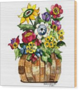 A Lovely Basket Of Flowers Wood Print