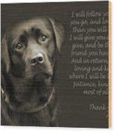 A Loving Dog Wood Print