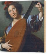A Lute-player Wood Print