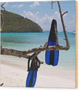 A Maho Bay Snorkel Wood Print by Richard Mansfield