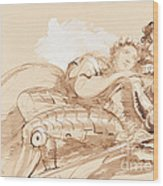 A Maiden Embraced By A Knight In Armor Wood Print