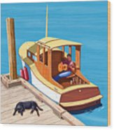 A Man, A Dog And An Old Boat Wood Print