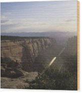 A Man Admires The Sunset From A Canyon Wood Print