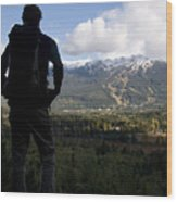 A Man Admires The View Over The Valley Wood Print