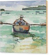 A Boat, A Man And His Dog Wood Print