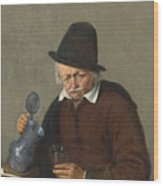 A Man Holding A Tankard And A Glass Wood Print