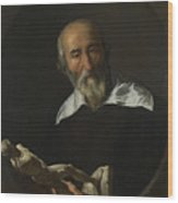 A Man Holding An Armless Statuette Wood Print