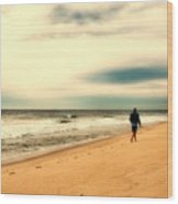 A Man's Serenity - Jersey Shore Wood Print