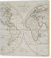 A Map Of The World From The Best Authorities Wood Print