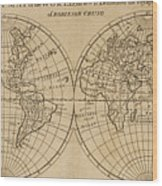 A Map Of The World With The Voyage Of Robinson Crusoe Wood Print