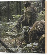 A Marine Sniper Team Wearing Camouflage Wood Print