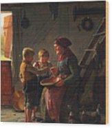 A Meal. Two Boys And A Grandmother Tasting The Potato Soup Wood Print