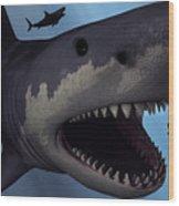 A Megalodon Shark From The Cenozoic Era Wood Print